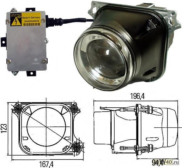 Фара ближнего/дальний света(DE модуль d90мм.) 12V BI- XENON линза