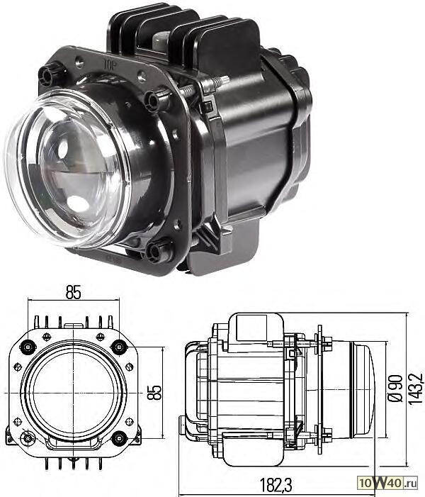Фара ближнего света(DE модуль d90мм.) 12V/24V LED линза-светодиод