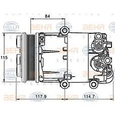 HELLA 8FK351334-071 (1435790 / 1543948 / 6G9119D629DB) компрессор кондиционер - легковой автомобиль - 12v