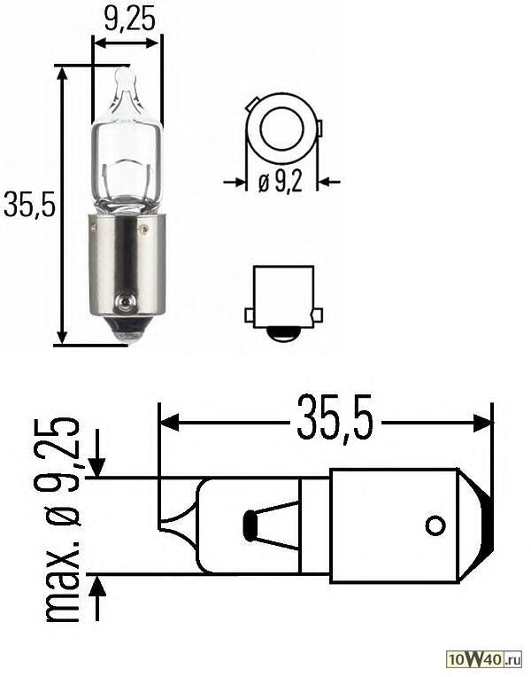 лампа (h6w) 12v 6w bax9s галогенная для стояночных огней и поворотников\