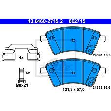 ATE 13.0460-2715.2 (71742853 / 5581079J00 / 71750033) колодки дисковые п.\ Fiat (Фиат) sedici, Suzuki (Сузуки) sx4 1.5i / 1.6i 16v / 1.9 ddis 06>