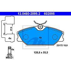 ATE 13.0460-2895.2 (7701206379 / 410607125R / 7701209380S) колодки дисковые передние\Renault (Рено) Laguna (Лагуна) 1.9dci / Megane (Меган) 1.8i / 1.9dci 99-02