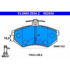 ATE 13.0460-2934.2 (8A0698151C / 357698151B / 8A0698151A) колодки дисковые п.\ Audi (Ауди) 80 1.6-2.0 / 1.9d 86-91