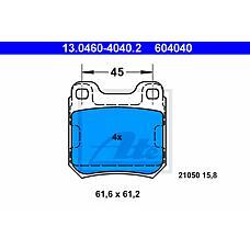 ATE 13.0460-4040.2 (1605879 / 1605924 / 1605047) колодки тормозные дисковые