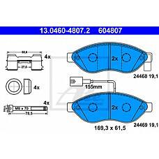 ATE 13.0460-4807.2 (77364014 / 425356 / 425355) колодки тормозные дисковые