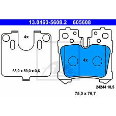 ATE 13-0460-5608-2 (044660W020 / 044660W010 / 0446650130) Колодки дисковые задние Lexus LS460/LS600 06>