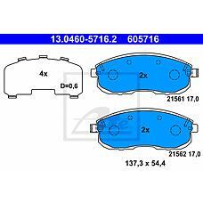 ATE 13.0460-5716.2 (D1060EM10A / D10601KA1A / 5581080J51) колодки дисковые передние\ Suzuki (Сузуки) sx4 1.5 / 1.6 06>13.0460-5716.2_колодки дисковые передние\ Suzuki (Сузуки) sx4 1.5 / 1.6 06>