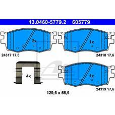 ATE 13.0460-5779.2 (581011GE00 / 581011GA00 / 581011JA10) колодки дисковые передние\ Hyundai (Хендай) accent, Kia (Киа) Rio (Рио) II 1.4 / 1.6 16v / 1.5crdi 05>