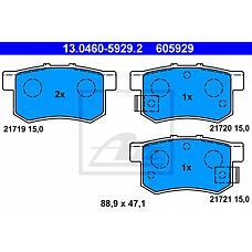 ATE 13.0460-5929.2 (43022S2A000 / 43022S5AJ00 / 43022SV4A20) колодки тормозные дисковые