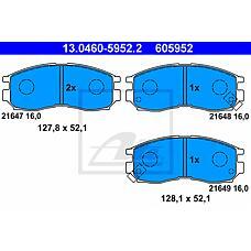 ATE 13.0460-5952.2 (MB699266 / 58101M2A01 / MB858375) колодки тормозные дисковые