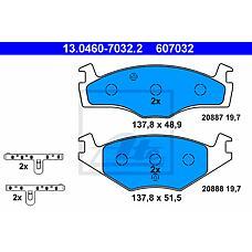 ATE 13.0460-7032.2 (1H0698151 / 191698151H / 191698151C) колодки тормозные дисковые