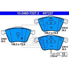ATE 13.0460-7227.2 (8J0698151A / 8J0698151F / 8P0698151) колодки дисковые п.\ Audi (Ауди) a3, VW Passat (Пассат) / Golf (Гольф) V 1.6i-1.9tdi 02> с датч.