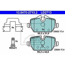 ATE 13.0470-2713.2 (34216767145 / 34216777240 / 34216767146) колодки дисковые задние ceramic\ BMW (БМВ) e81 / e87 / e90 1.6i-2.0i / 1.6d / 1.8d 04>