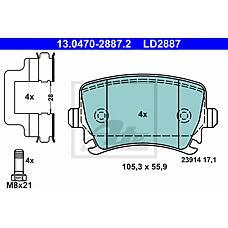 ATE 13.0470-2887.2 (8E0698451F / 1K0698451G / 1K0698451) колодки тормозные дисковые
