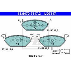 ATE 13.0470-7117.2 (1J0698151D / 1K0698151F / 1J0698151E) колодки тормозные дисковые