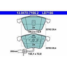 ATE 13.0470-7166.2 (4B0698151AC / 4B0698151R / 4B0698151Q) колодки дисковые передние ceramic\ Audi (Ауди) a6 2.4 / 2.7 / 3.0 / 2.5tdi quattro 01>