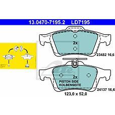 ATE 13.0470-7195.2 (93172190 / 1605973 / 1360254) колодки дисковые з. \ Mazda (Мазда) 3 1.4-2.0 03>, Ford (Форд) Focus (Фокус) 1.4-3.2 02> ceramic