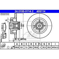 ATE 24.0108-0114.2 (7701207823 / 8200038305 / 230722) диск тормозной с интегрированным подшипником