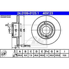 ATE 24.0109-0123.1 (1J0615601 / 1J0615301 / 1J0615601C) диск тормозной