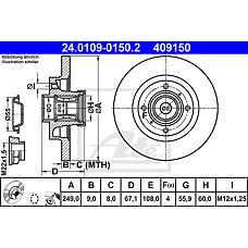 ATE 24.0109-0150.2 (4246Z9 / 424934) диск тормозной задний с подш. и кольцом abs\ Peugeot (Пежо) 307 1.4i-2.0hdi 01>