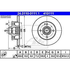 ATE 24.0110-0111.1 (357615601 / 191615601B / 6N0615601) диск тормозной задний\ VW Golf (Гольф) / Passat (Пассат) / Polo (Поло) 1.8-1.9tdi 83>