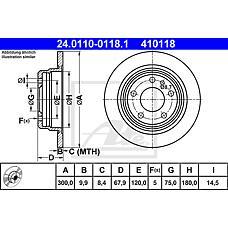 ATE 24.0110-0118.1 (34211157781 / 34211165259 / 34211165258) диск тормозной задний\ BMW (БМВ) е32 3.0 m30 / m60 87-94