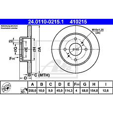 ATE 24.0110-0215.1 (4320699J01 / 4320699J00 / 432065M311) диск тормозной задний\ Nissan (Ниссан) Almera (Альмера) / Primera (Примера) all 90>