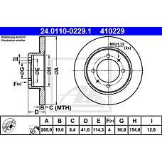 ATE 24.0110-0229.1 (MR913846 / 30872940 / MB699288) диск тормозной