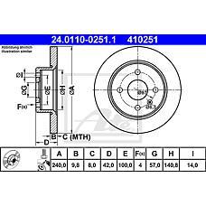 ATE 24.0110-0251.1 (569108 / 569111 / 9196587) диск тормозной задний\ Opel (Опель) Astra (Астра) 1.2-2.0di 98>