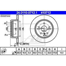 ATE 24.0110-0712.1 (4243133080 / 4243148020 / 4243148010) диск тормозной