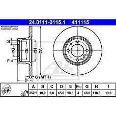 ATE 24.0111-0115.1 (21013501070 / 21013103002) диск тормозной передний\ Lada (Лада) nova all 73>