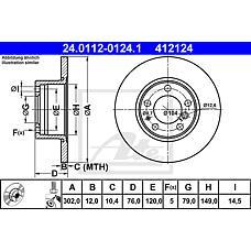 ATE 24.0112-0124.1 (34111161693 / 34111158042 / 34111159898) диск тормозной