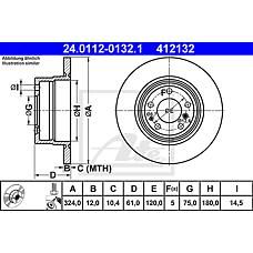 ATE 24.0112-0132.1 (34211159900 / 34216757748 / 34211157953) диск тормозной задний\ BMW (БМВ) e38 / e31 2.8-5.0 m51-m62 / m70 / m73 89>