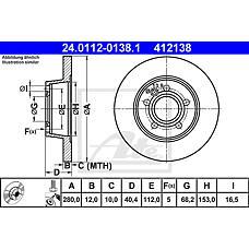 ATE 24.0112-0138.1 (701615601A / 7D0615601 / 701615601) диск тормозной