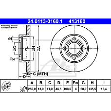 ATE 24.0113-0160.1 (443615301 / 431615301 / 230062) диск тормозной передний\ Audi (Ауди) 80 / 90 / 100 1.6-2.0d 86-91
