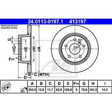 ATE 24.0113-0197.1 (NTC8781 / SDB000470 / SDB000210) диск тормозной