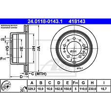 ATE 24.0118-0143.1 (4243160281 / 4243160221 / 4243160280) диск тормозной