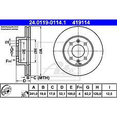 ATE 24.0119-0114.1 (5171225060 / 5171225061 / 5171225010) диск тормозной