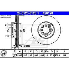ATE 24.0120-0128.1 (321615301D / 6N0615301D / 357615301D) диск тормозной передний\ VW Golf (Гольф) / Passat (Пассат) / vento 1.4-1.9tdi 85>