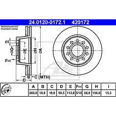 ATE 24.0120-0172.1 (857615601 / 861615301B / 861615301) диск тормозной задний\ Audi (Ауди) a6 2.2-4.2 88>