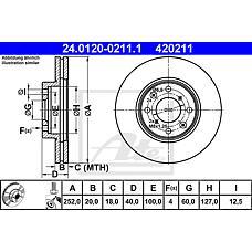 ATE 24.0120-0211.1 (5531162J00 / 93192978 / 4708241) диск тормозной передний\ Suzuki (Сузуки) Swift (Свифт) 1.3 / 1.5 / 1.3d 05>
