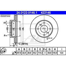 ATE 24.0122-0146.1 (4020693J01 / 4020671E01 / 4020671E02) диск тормозной
