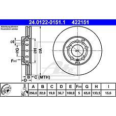 ATE 24.0122-0151.1 (1J0615301D / 8Z0615301D / 1J0615301L) диск тормозной