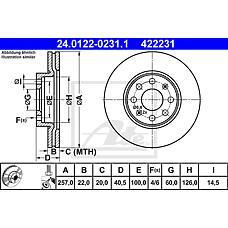 ATE 24.0122-0231.1 (55700920 / 55700921 / 93188917) диск тормозной передний\ Fiat (Фиат) grande Punto (Пунто) 1.2 / 1.4 / 1.3d 05>