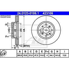 ATE 24.0123-0106.1 (45251SS0A00 / 45251ST3E60 / 45251SL0030) диск тормозной передний\ Honda (Хонда) Prelude (Прелюд) 2.2-2.3 92-96