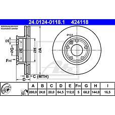 ATE 24.0124-0118.1 (701615301D / 701615301A / 230437) диск тормозной передний\ VW t4 2.0-2.5d 90-96