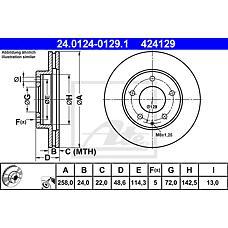 ATE 24.0124-0129.1 (GA5Y3325X / GA2Y3325X / GA5Y3325XD) диск тормозной