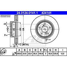 ATE 24.0124-0141.1 (26310AA031 / 26310AA032 / 26300AE091) диск тормозной передний\ Subaru (Субару) Impreza (Импреза) / Legacy (Легаси) 1.6-2.0 89>