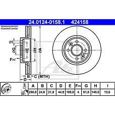ATE 24.0124-0158.1 (7701205842 / 7701205230 / 7701207829) диск тормозной