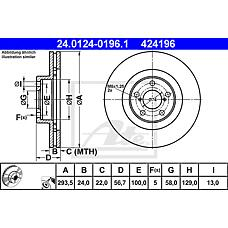 ATE 24.0124-0196.1 (26310AC040 / 26310AC041 / 26300AE060) диск тормозной передний\ Subaru (Субару) Impreza (Импреза) 2.0t 94>